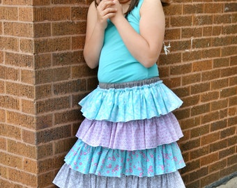 Ruffle Skirt Pattern for girls Sewing Tutorial with sizes 6m through 16 Girls PDF Instant