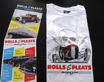 Rolls & Pleats T-shirt + 2 magazines. Traditional 1950s Hot Rod magazine. Pick the 2 issues of your choice from a list