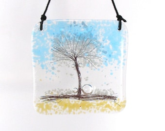 Fused Glass Snowy Tree Hanger, Kiln Fired, Hanging, Gift