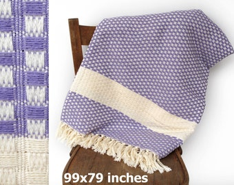 """Bedspread Turkish Blanket Sofa Bed Cover Couch Throw Handwoven Cotton Sofa Throw Bed Blanket Mauve LILAC Extra Large 99"""" x 79"""""""