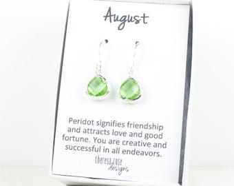 Tiny August Birthstone Peridot Green Silver Earrings, August Birthstone Gold Earrings, Peridot Sterling Silver Earrings, Bridesmaid Earrings