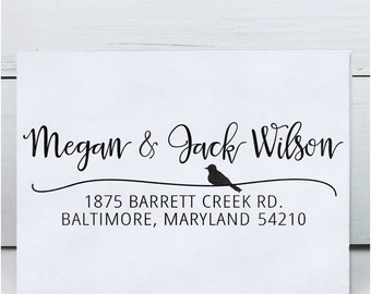 Custom Stamp, Self Inking Return Address Stamp, Calligraphy stamp, Save the Date Stamp, Rustic Wedding Stamp, address - Calligraphy Bird