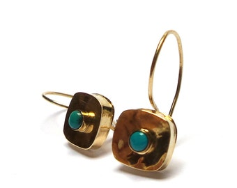 Gold Earrings - 14 K Gold Earrings - Turquoise Earrings - Free Shipping!!!