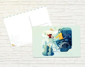 Bike and dog postcard