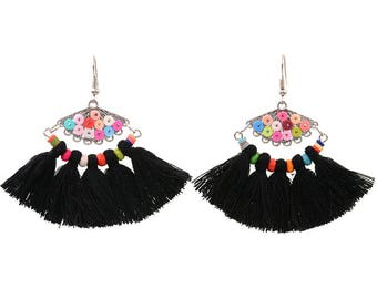 Black tassel earrings - surgical steel earrings, rainbow colourful unique statement earrings, stainless steel, nickel free, hypoallergenic