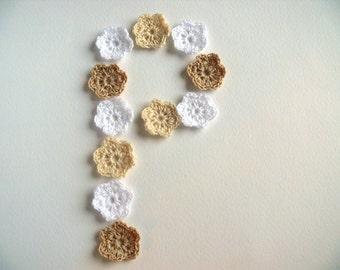 Crochet flower, set of 15, crochet applique, embellishments, Wall Handing,cotton applique, Shabby chic, Scrapbooking,crochet ornaments,cards
