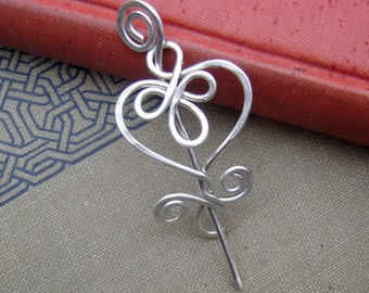 Little Celtic Heart Sterling Silver Shawl Pin, Scarf Pin, Silver Brooch, Cardigan Closure, Mother's Day Gift for Women, Knitters Jewelry