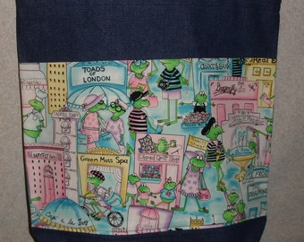 New Large Handmade Whimsical Toads of London Denim Tote Bag