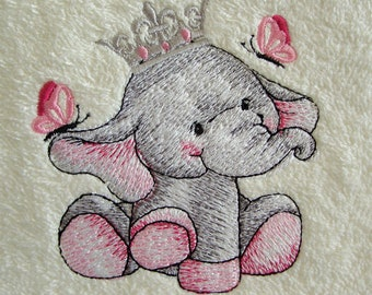 Baby Girl gift Flannel Facecloth embroidered baby elephant Baby shower gift