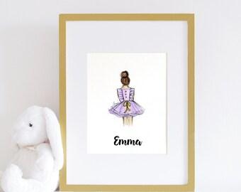 Lavender Nursery Art Print, Baby Girl decor, Fashionista Print, Little Girl Print, Dress Art Print, Girls room print, dress sketch