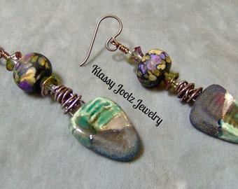 Ceramic Organic Raku Earrings-Raku-Lampwork Beaded Earrings-Artisan Earrings-Artisan Lampwork Dangle Earrings-SRAJD - Artisan Ceramic Beads