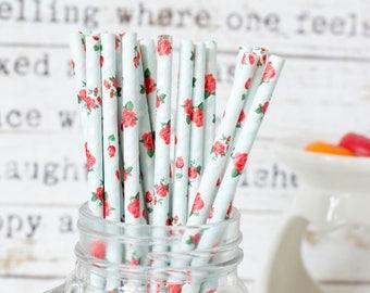 Rose on Pastel Blue  Paper Straws, Beautiful Straws for Wedding or Birthday Celebration, Heart Straws, white, Paper Straws, Wedding Straws