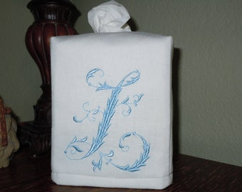 "Monogrammed White Linen Tissue Box Cover -  French Monogram ""L""  Made To Order"