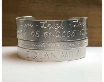 Cuff Bracelet   Engraved Personalized   Custom Mantra Bracelet   Hidden Message