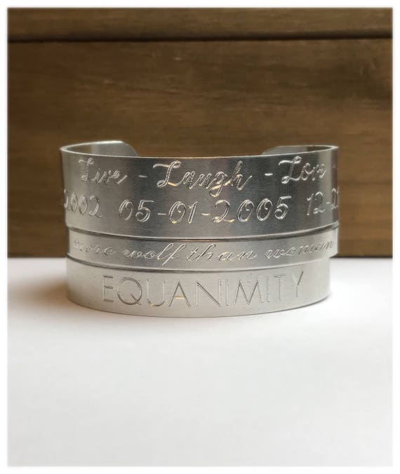 Cuff Bracelet | Engraved Personalized | Custom Mantra Bracelet | Hidden Message