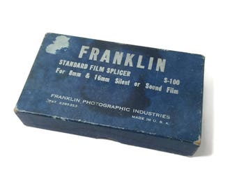 Franklin Standard Film Splicer For 8mm and 16mm Silent or Sound Film Pat Number 2385353, Made in USA