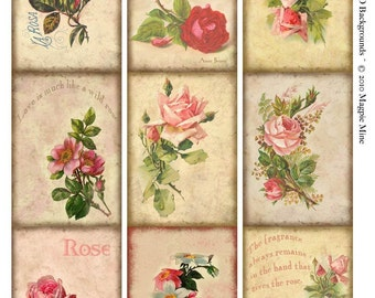 ACEO Background - Instant Download - Aged Paper - Pink Roses -Vintage Roses Collage Sheet - Digital Download - Printable