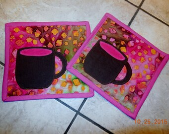 Set of 2 mug rugs, snack mats, ,coffee, tea, milk & cookies, shades of brown and pink  great gift