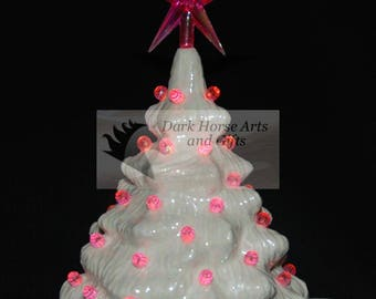 Mother Of Pearl Ceramic Christmas Tree 7 in Pink Lights