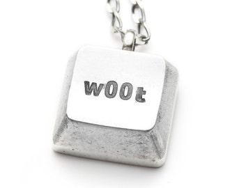 SALE  -  Geekery - Silver necklace w00t keyboard key - cyberintellect