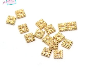 "beads 50 ""square plate"" 5 x 5 x 1, 5mm, Golden 001"