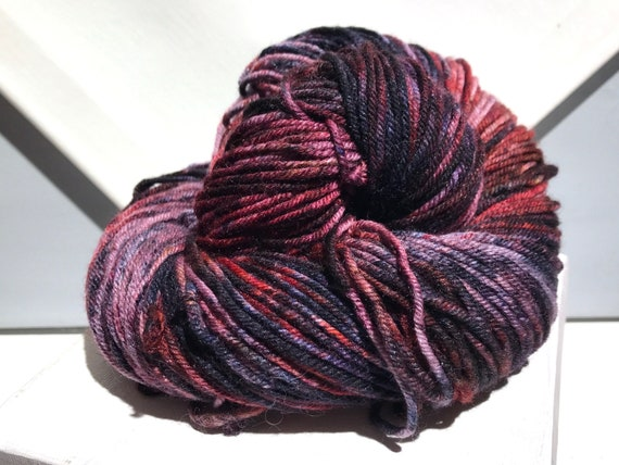 "Red Wine DK weight, handpainted yarn ""Bloody Mess "" shawl yarn sock, slate blue, pink, red, red-violet, navy, purple, wine, salmon"