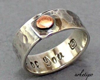 Personalized Sterling Silver Ring..Handmade, hammered sterling silver Ring.. Men's / Women's Band..