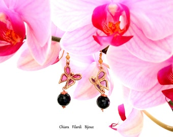 Earrings in bronze and purple enamel with onyx