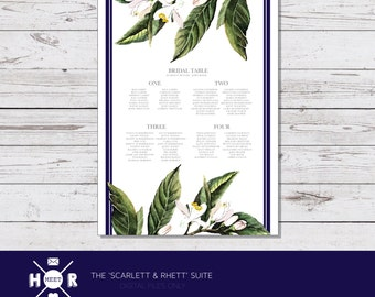 Printable - The 'Gone With The Wind' Wedding Seating Chart | Reception | Southern Wedding | Botanical | Navy | Lemon