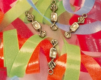 Candy Wrapped Charms -4 pieces-(Antique Pewter Silver Finish)
