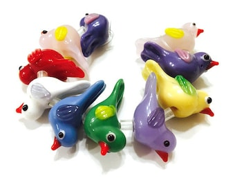 10 pieces Assorted Colors Lampwork Glass Bird Beads, Animal Beads, Dove Beads