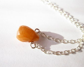 Sunstone Gemstone Necklace-Yellow Orange Stone Teardrop-Sterling Silver Simple Neckace
