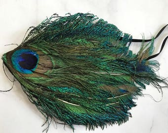 SALE! Peacock Feather Headband // Classy 1920's Style Headpiece // Comfortable Black Elastic Band // Bright Colors