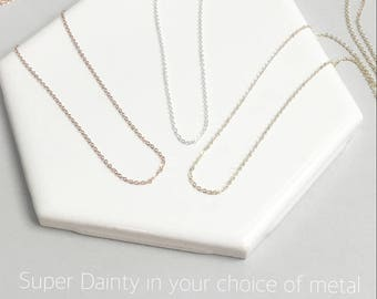 Ultra Dainty Layering Necklace, Thin Gold Necklace Silver or Rose, Simple Necklace, Link Necklace, Dainty Chain The Silver Wren