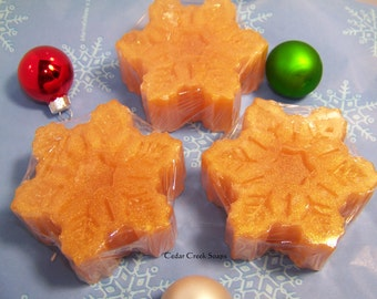 Gold Snowflake Soaps  Holiday Stocking Stuffer ~ Co-worker Gift  Gold Frankincese and Myrrh Scented Soaps ~ Detergent Free Soap