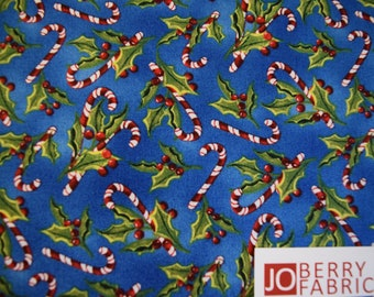 Candy Canes and Holly from the Snowy Friends Collection by Nancy Mink for Wilmington Prints, Quilt or Craft Fabric, Fabric by the Yard.
