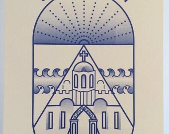 Santorini Holiday Print