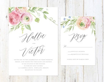 Rustic Floral Wedding Invitation, Pink and Gray Floral Wedding Invitation, Script Wedding Invitation