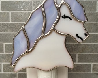 Handmade pony in stained glass night light
