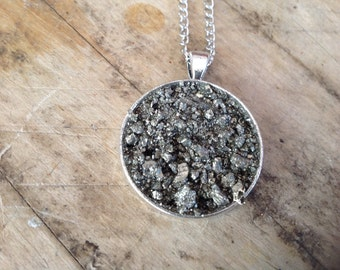Pyrite Dust Disc Circle Necklace