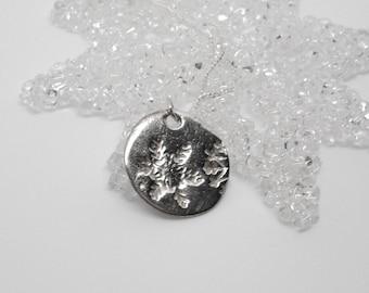 Fine Silver Rustic Snowflake Necklace