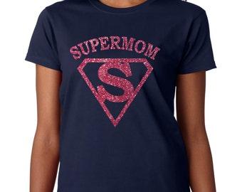 Super mom bling glitter t shirt, Mothers day gift, Super mom shirt, Gift for mom
