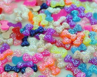Glitter Bow bead 12mm shiny resin Rhinestone cabochon mini Bubblegum bow SZ0223-100pcs