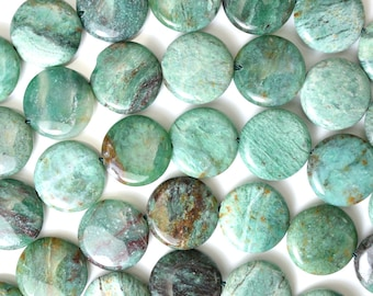 "15mm green dragon blood jasper coin beads 16"" strand 38135"