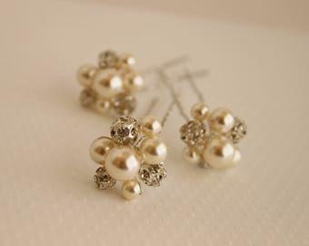 Rhinestone Bridal Hairpins, Pearl Hairpins, Swarovski Hairpins, Hairpins, Wedding Hair Pin, Swarovski Pearl Hairpins, Pearl Bridal Hair Pins