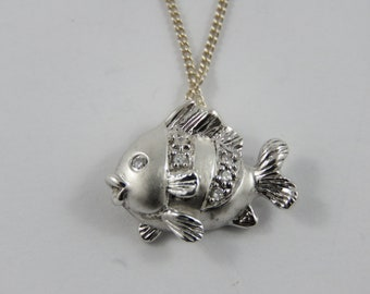 Sterling Silver  Puffed Fish Pendant With 20 Inch Chain