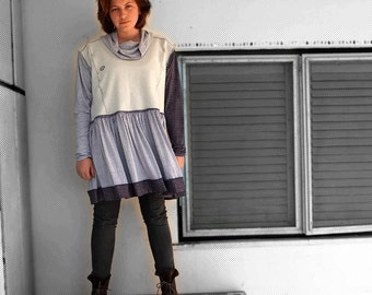Good Mood Swinging Sweatshirt Dress  - Re-purposed Men's sweatshirt -  made by kathrin kneidl for resplendent rags
