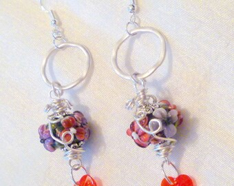 Be my Valentine Red and Purple Flowered Lampwork and Crystal Heart Beaded Wirewrapped Earrings