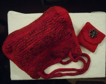 Handmade Felted Wool Handbag & Coin Purse Unique Red//black/mauoon Shoulder Bag