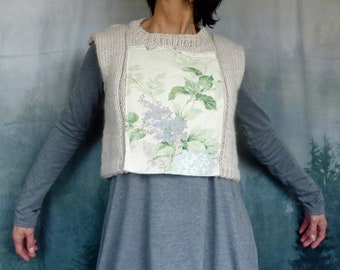 Serendipity Bodice, hand knitted crop bodice in luxury yarn with Sanderson floral panel